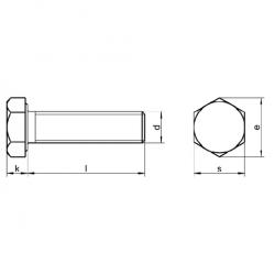 RVS Zeskantbouten voldraad, DIN 933 / ISO 4017