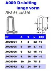RVS D-Sluitingen lange vorm A009