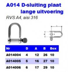 RVS Plaatsluiting D-model lang A014