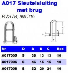 RVS Sleutelsluiting met brug A017