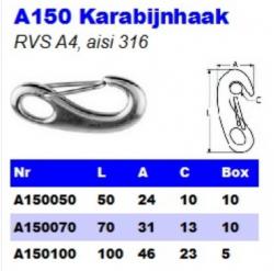 RVS Karabijnhaken (snaphaak) A150