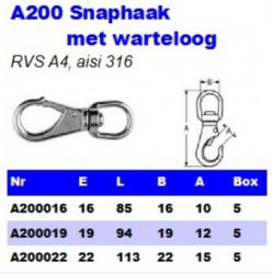 RVS Snaphaken met warteloog A200