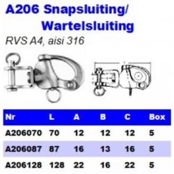 RVS Snapsluitingen/Wartelsluitingen A206