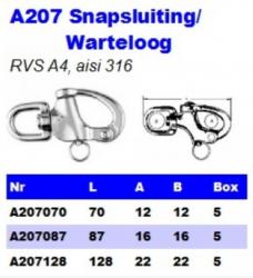 RVS Snapsluitingen/Wartelogen A207