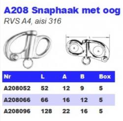 RVS Snaphaken met oog A208