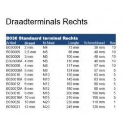 RVS Draadterminals rechts met moer B030