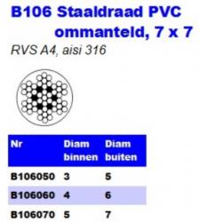 RVS Staaldraad PVC onmanteld 7 × 7 B106