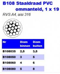 RVS Staaldraad PVC ommanteld 1 × 19 B108