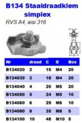 RVS Staaldraadklemmen simplex B134