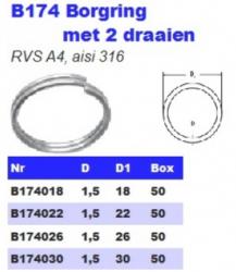 RVS Borgringen met 2 draaien B174