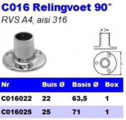 RVS Relingvoet 90° C016