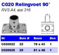 RVS Relingvoet 90° C020