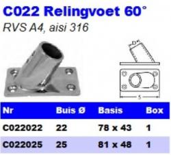 RVS Relingvoet 60° C022