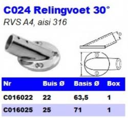RVS Relingvoet 30° C024