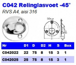 RVS Relinglasvoet -45° C042