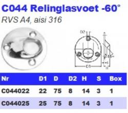 RVS Relinglasvoet -60° C044