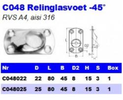 RVS Relinglasvoet -45° C048