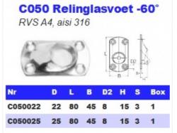 RVS Relinglasvoet -60° C050