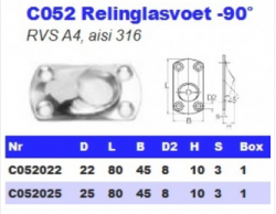 RVS Relinglasvoet -90° C052