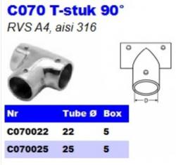 RVS T-stuk 90° C070