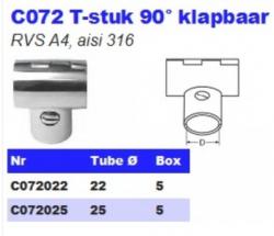 RVS T-stuk 90° klapbaar C072
