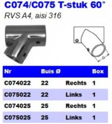 RVS T-stuk 60° C074/C075