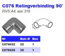 RVS Relingverbindingen 90° C076