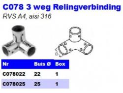 RVS 3 weg Relingverbindingen C078
