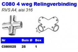 RVS 4 weg Relingverbindingen C080