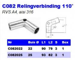 RVS Relingverbindingen 110° C082