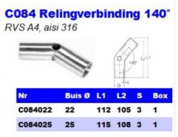 RVS Relingverbindingen 140° C084