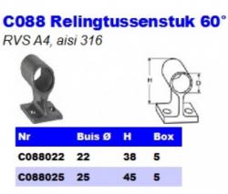 RVS Relingtussenstukken 60° C088