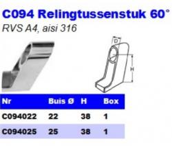 RVS Relingtussenstukken 60° C094