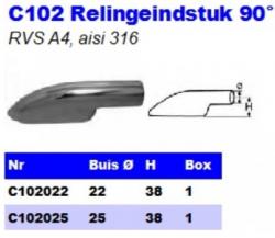 RVS Relingeindstukken 90° C102