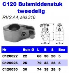 RVS Buismiddenstukken tweedelig C120