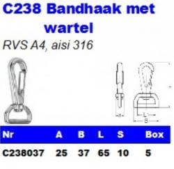RVS Bandhaken met wartel C238