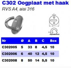 RVS Oogplaten met haak C302