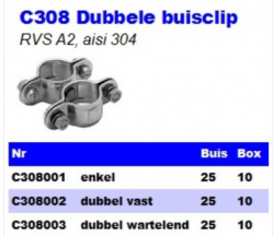 RVS Dubbele buisclips C308