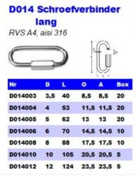 RVS Schroefverbinders lang D014