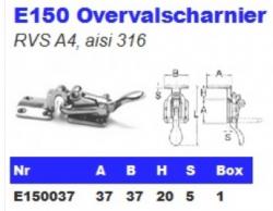 RVS Overvalscharnieren E150