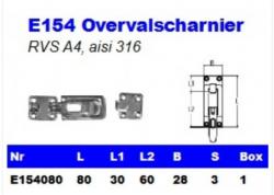 RVS Overvalscharnieren E154