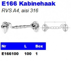 RVS Kabinehaken E166
