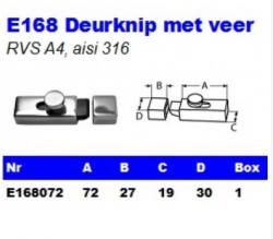 RVS Deurknip met veer E168