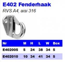 RVS Fenderhaken E402