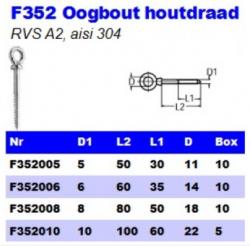 RVS Oogbouten houtdraad F352