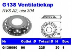 RVS Ventilatiekappen G138