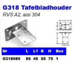 RVS Tafelbladhouders G318
