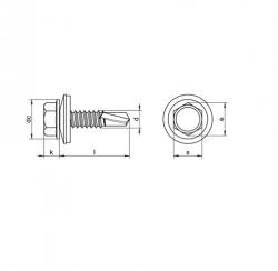RVS Plaatschroeven zelfborend zeskant met EPDM ring Art. 8265