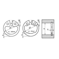 RVS Zekeringsringen voor boringen (circlips) DIN 472