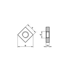 RVS vierkante moeren laag DIN 562